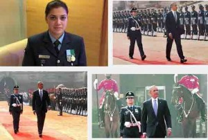 Wing Commander Ms Pooja Thakur leading guard of honour to President Obama